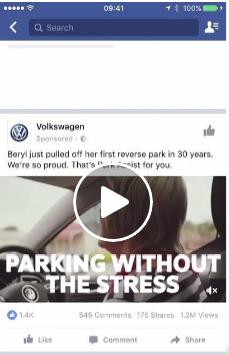 Одно видео (все плейсменты кроме главной страницы Messenger)