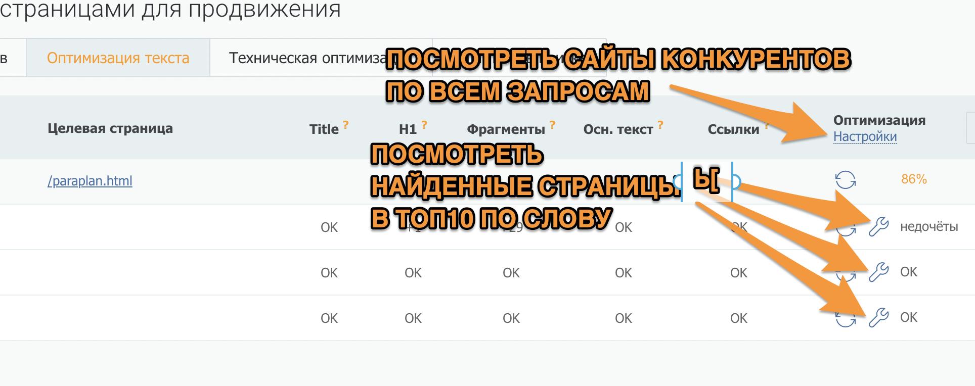 Клик по ссылке «Настройки» откроет список доменов конкурентов по всем запросам, по знаку «Ключа» — страниц конкурентов для каждого запроса в отдельности.