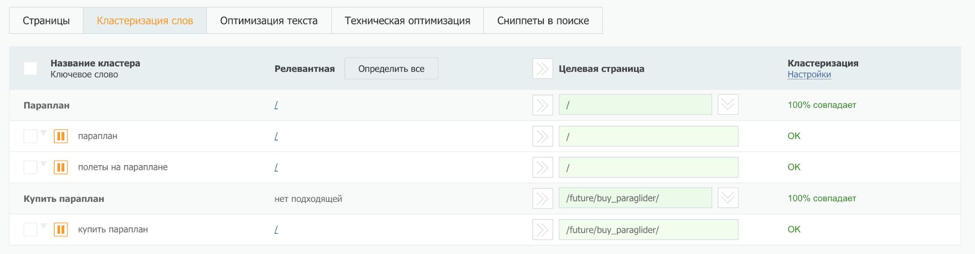 Система позволяет вручную указать временный URL — на его месте в будущем вы укажете верный URL созданной страницы.